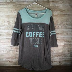 VS PINK Sleep long Tee Prime Coffee Time